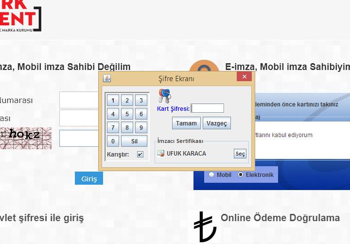 Türk Patent Enstitüsü E imza